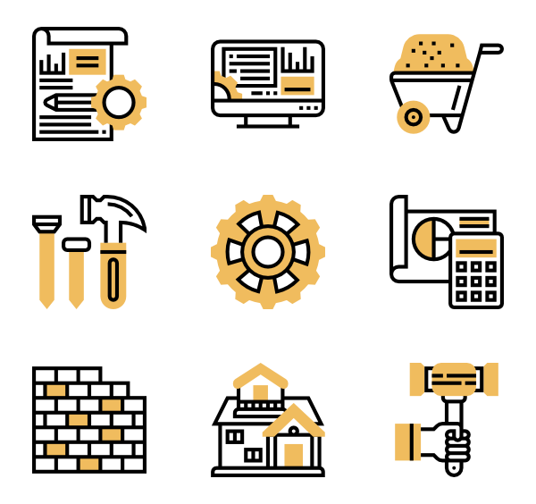 Vector blueprint home. Icons free engineering