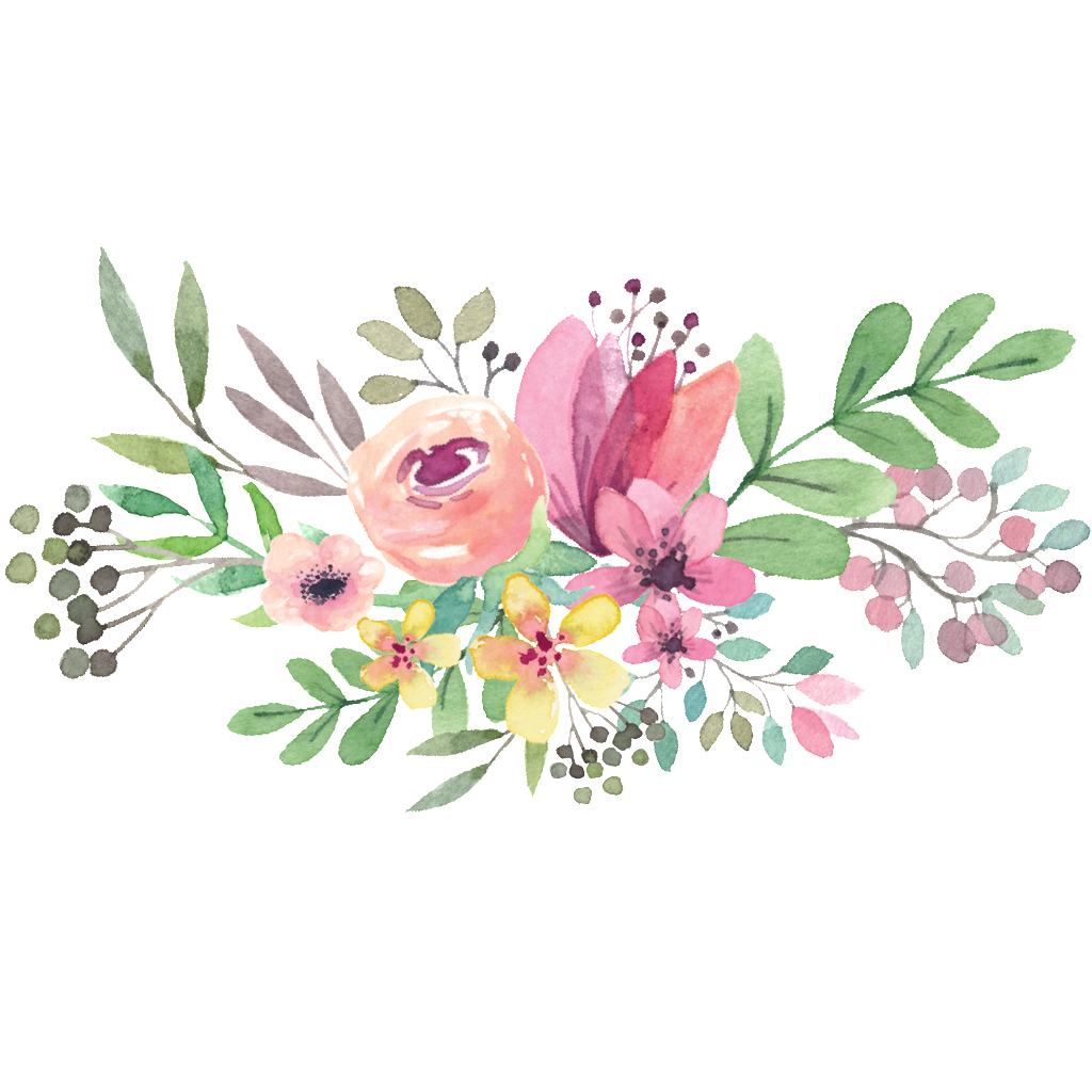 Vector bouquet. Watercolor flower graphic library