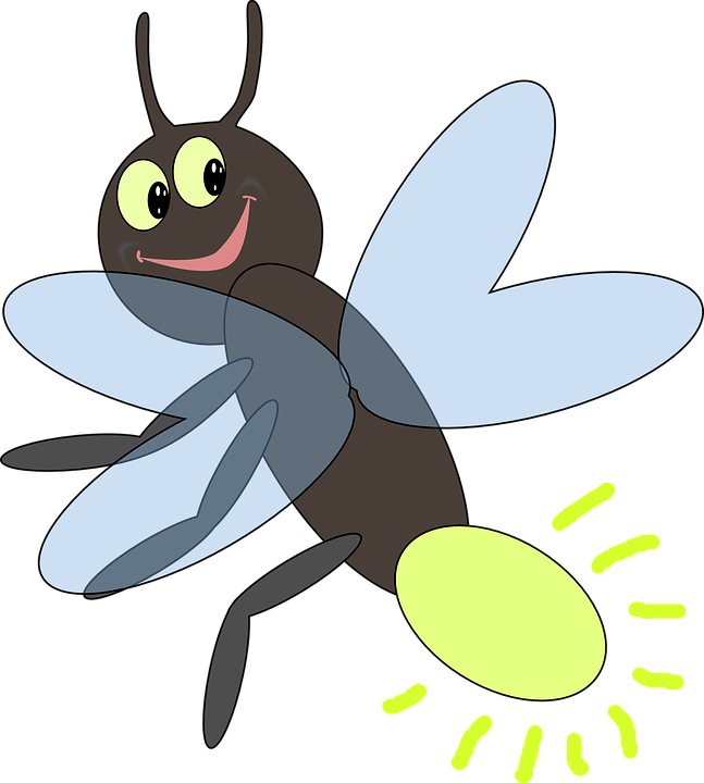 Bugs vector easy cartoon. Collection of free fireflies