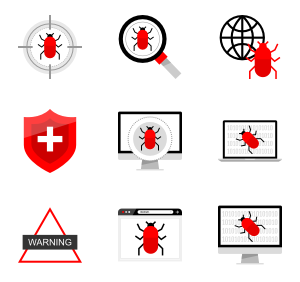 Vector bug computer. Icons free internet security