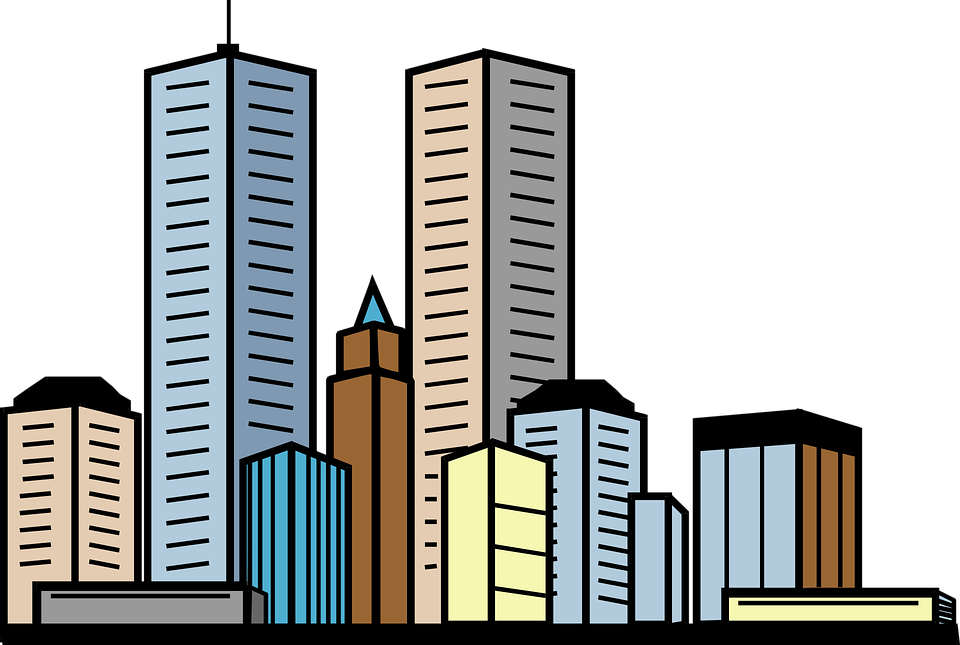 Vector buildings building background. Collection of free cities