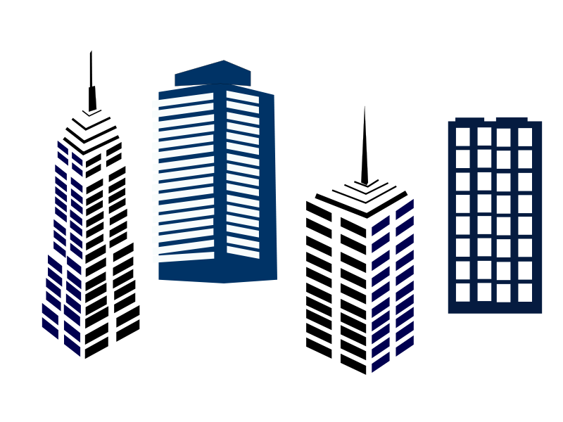 Vector buildings simple. Free city clipart download