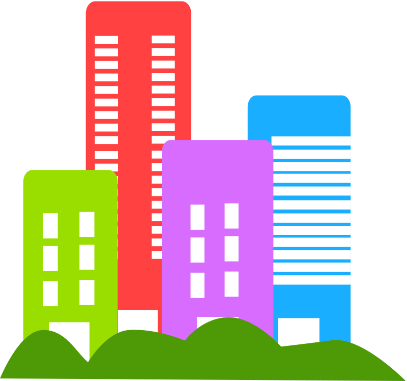 Vector buildings town. Free city skyline clipart