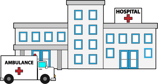 Hospital transparent cliparts. Collection of free builded