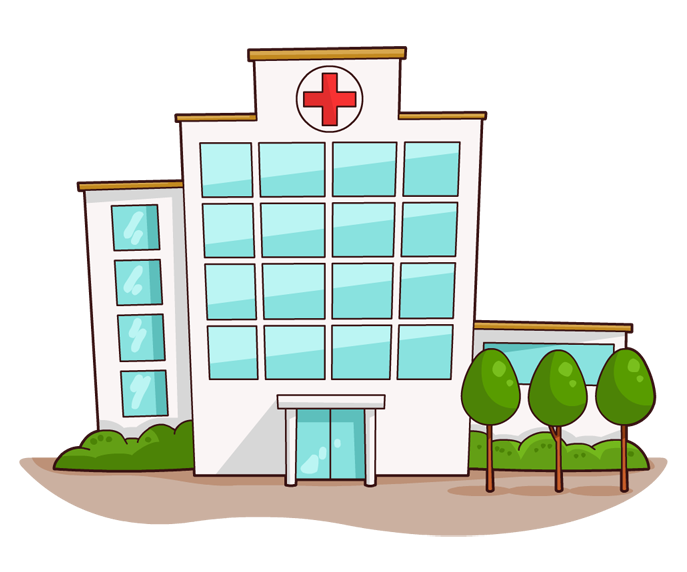 Vector buildings hospital. Collection of free hospitaler