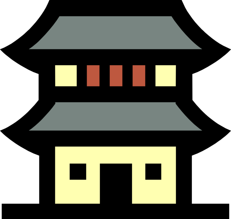 Vector buildings illustrator. Japanese building image illustration