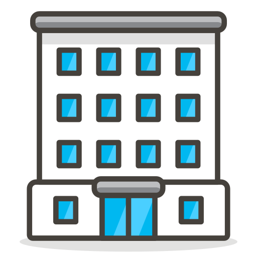 Vector office kantor. Building icon free of