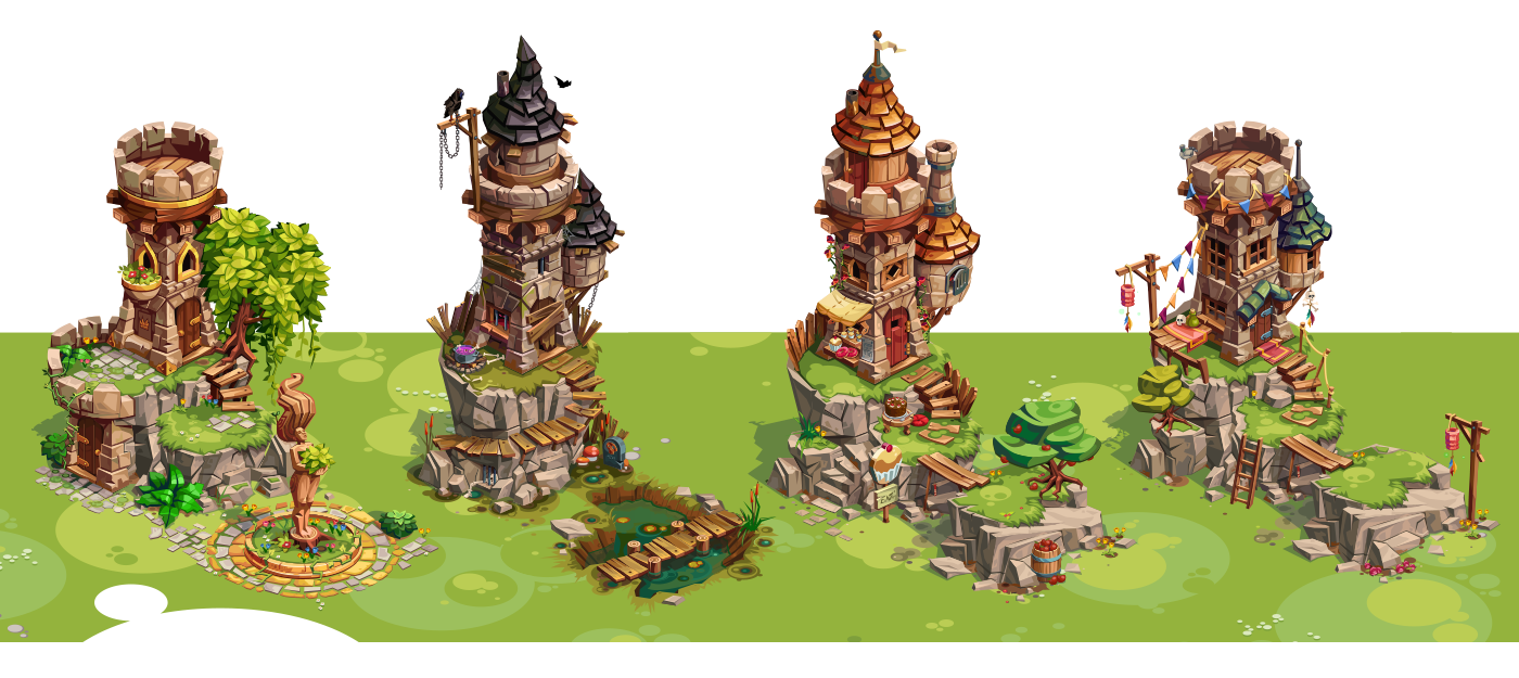 Vector buildings medieval. In game assets on
