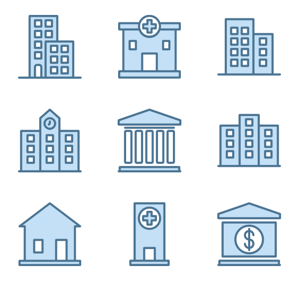 Vector buildings top view. Architecture icon packs