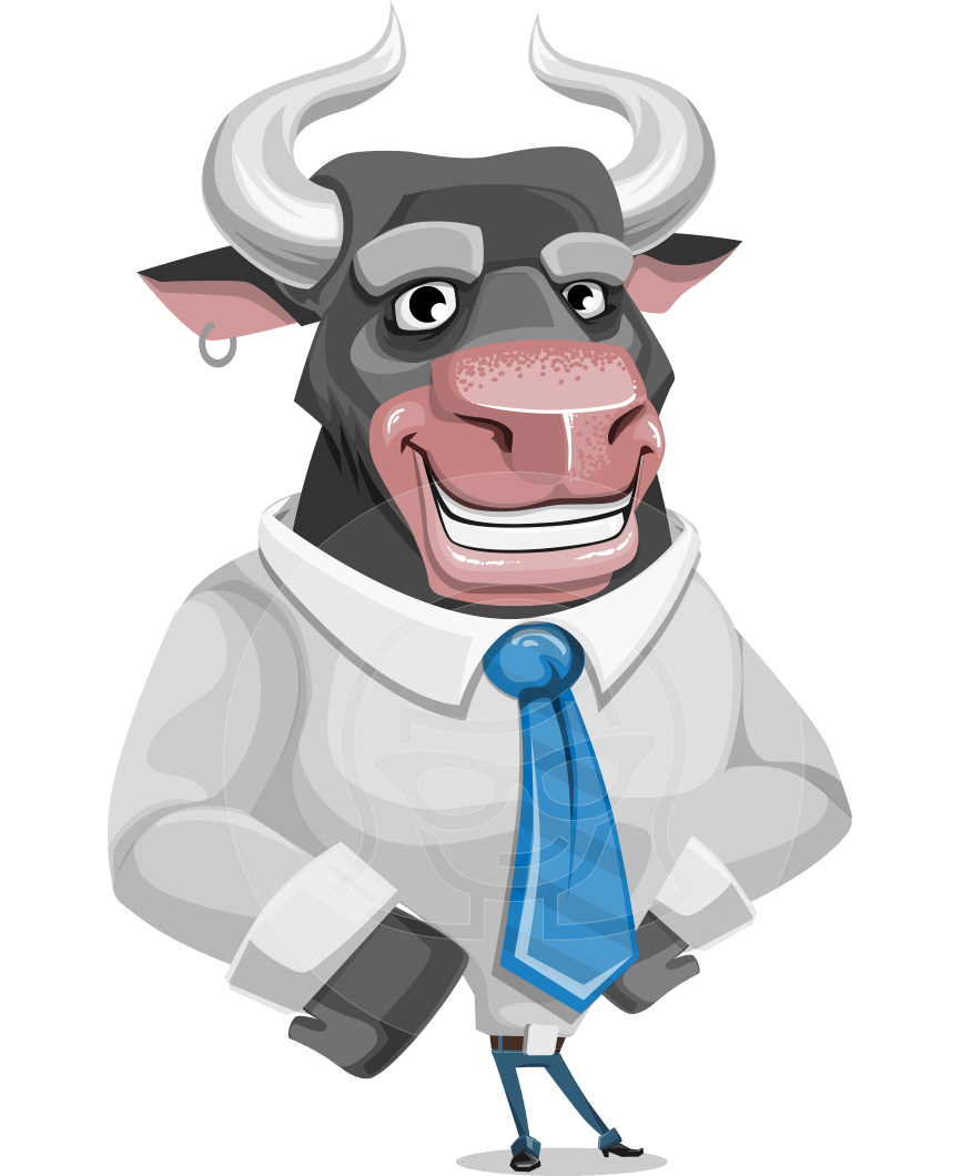 Vector bull cartoon. Character will horns graphicmama