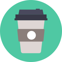 Vector cafe flat. Coffee takeaway icon shop