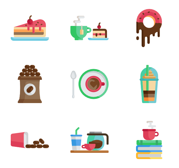 Vector cafe flat. Coffee cup icons free