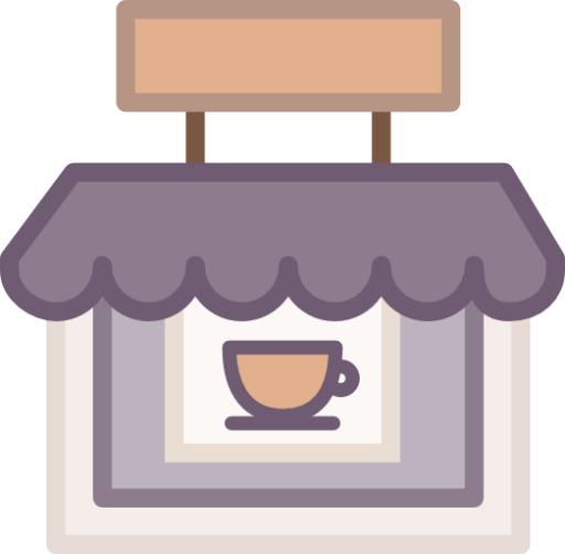 Vector cafe flat. Coffee shop icon free