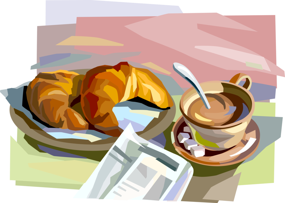 Vector cafe newspaper. Breakfast croissants and caf