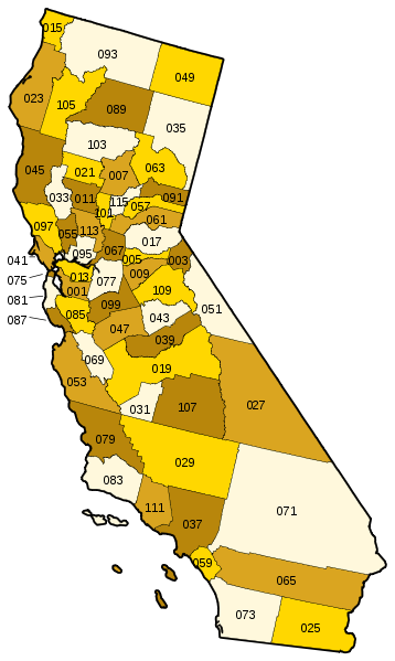 Vector california. File county map svg
