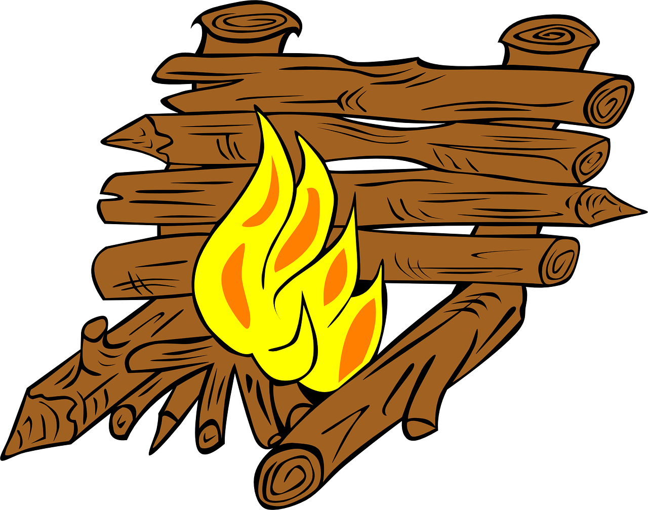Campfires fire outdoor pit. Vector campfire illustration clipart library library