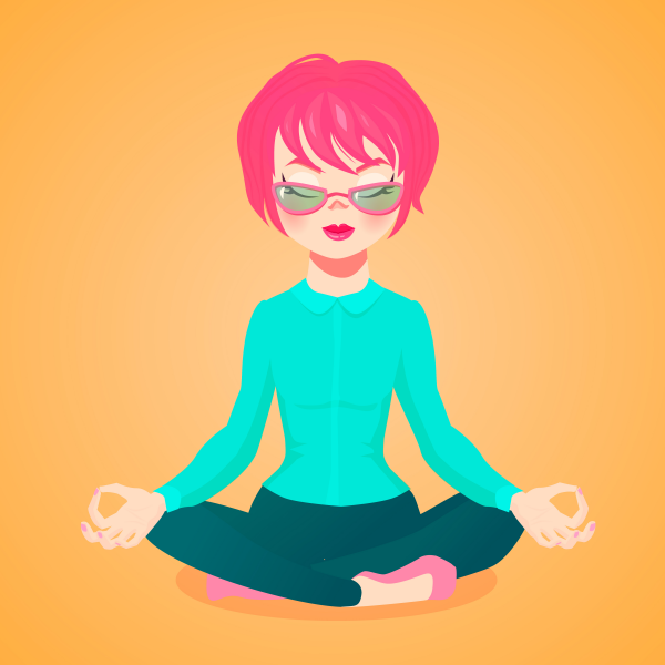 Vector cartoon illustartion of a young businesswoman meditating sitting in the lotus position.