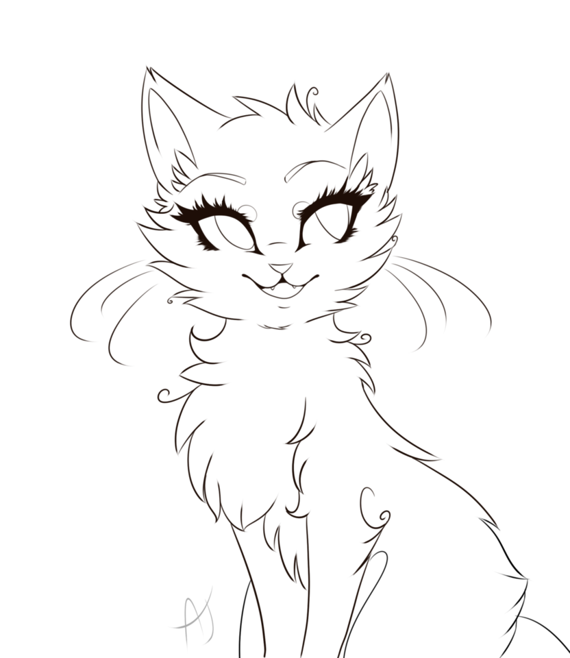 Vector cats lineart. Cat line drawing at