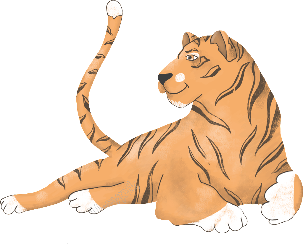 Vector cats realistic. Hand painted domineering tiger