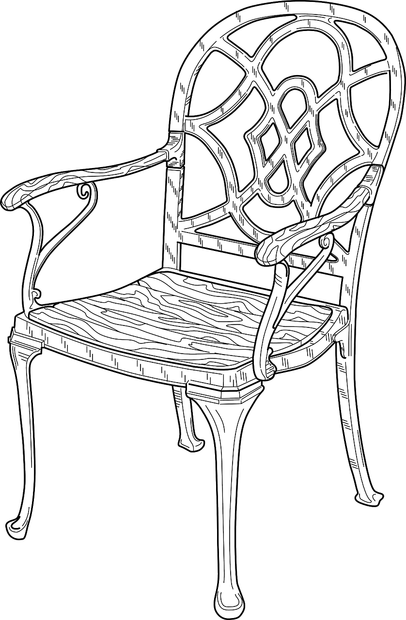 Armchair drawing black and white. Chair wooden furniture sitting