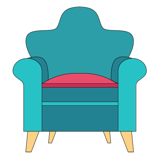 Vector chair cartoon. Rolled arm transparent png