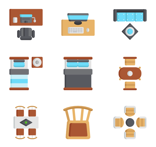 Vector chair top view. Icons free furniture