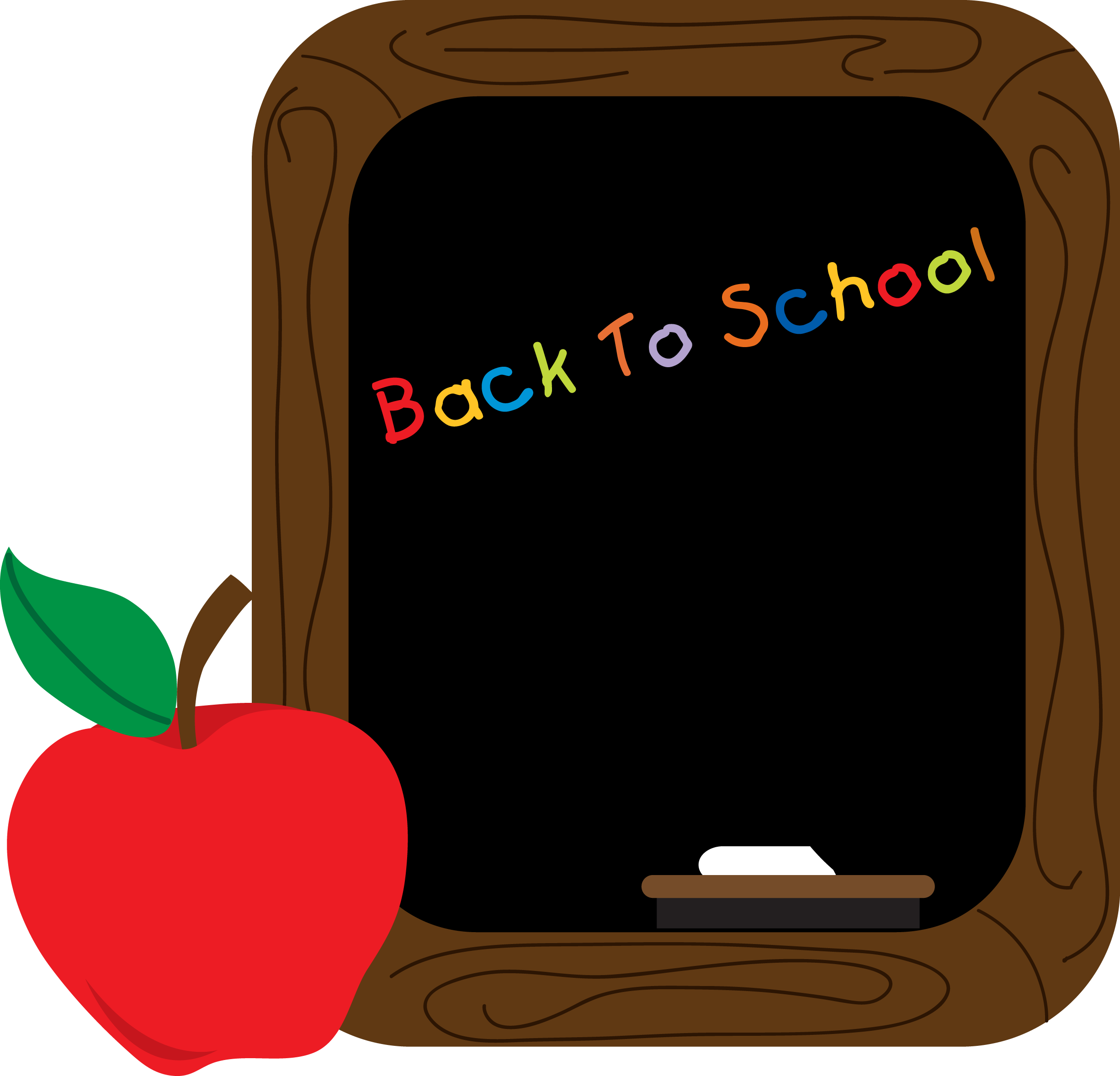 Vector chalkboard back to school. Apple clipart pencil and