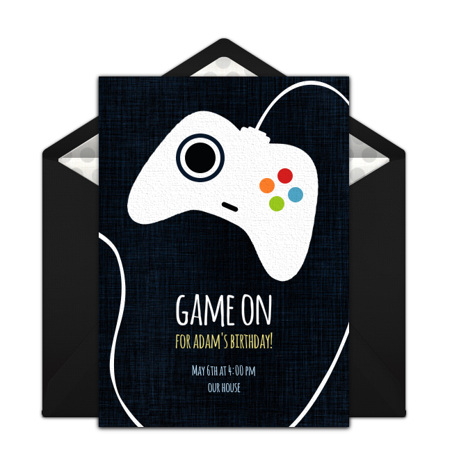 Vector chalkboard birthday template free. Game controller invitations boy
