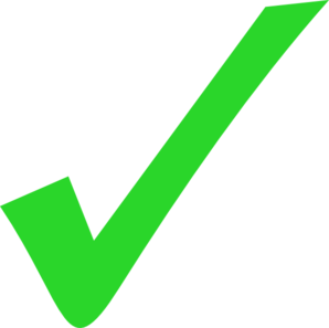 Vector checkmark right symbol. Green light tick mark