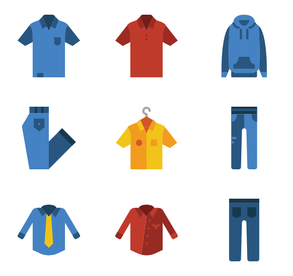 Vector clothes illustrator. Man icon packs