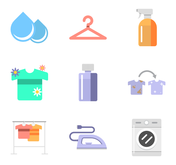 Vector clothes washing. Laundry icons free