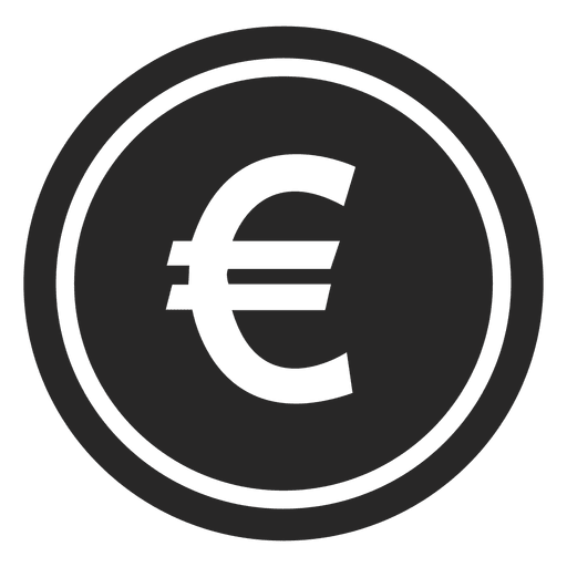 Vector coin euro. Icon transparent png svg