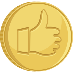 Vector coin free. Thumbs up gold clip