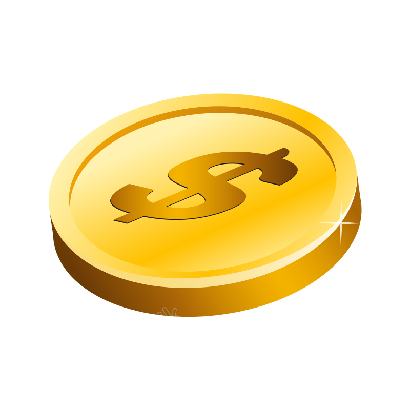 Vector coins gold chinese. Dollar coin free download