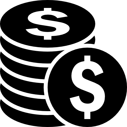 Vector coins silhouette. Coin sack money clipart
