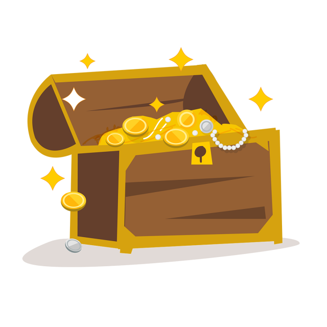 Treasure with golden png. Vector coins art graphic freeuse download