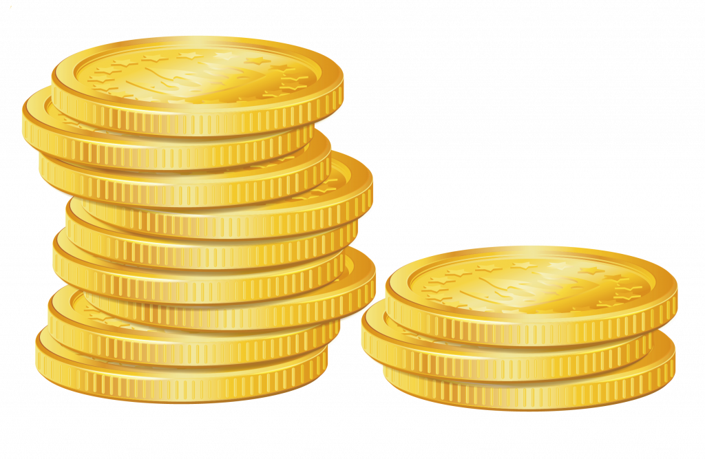 Vector coins gold. Clip art free