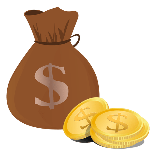 Vector coins name. Dollar bag transparent png