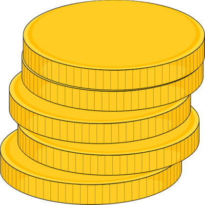Vector coins. Free money stack of