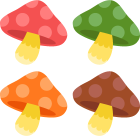 Mushrooms free png and. Vector colors clipart free stock