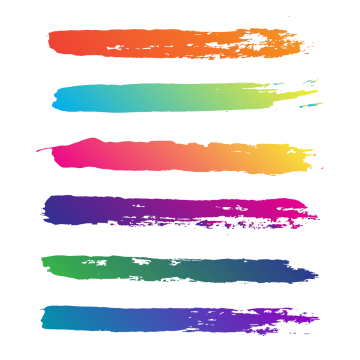 Swash vector brush effect. Multi colored png images