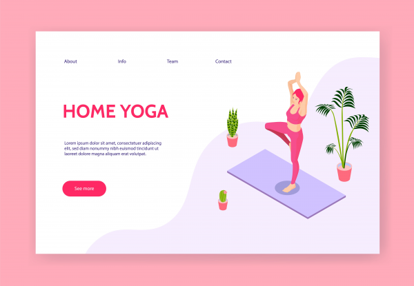 Vector concept banner template. Yoga girl at