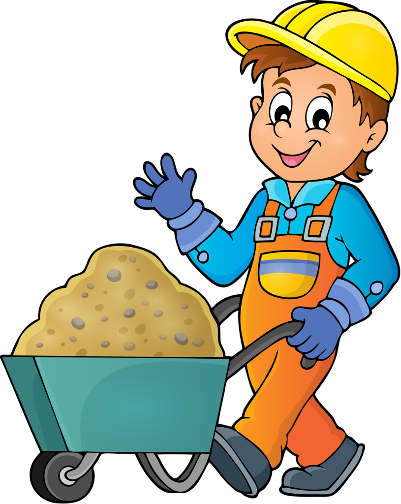 Vector contracting clipart. Contractor assembly worker cute