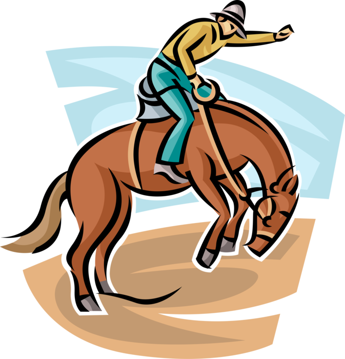 Vector cowboy rodeo. Rides in competition image