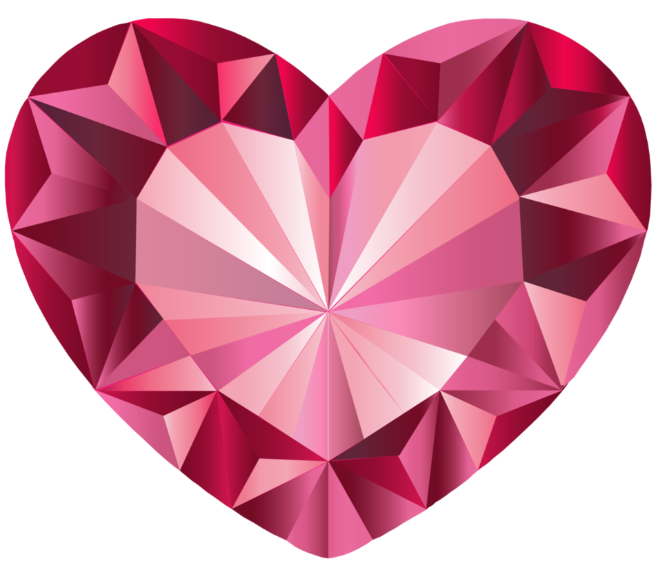 Vector crystal faceted. Pink heart done in