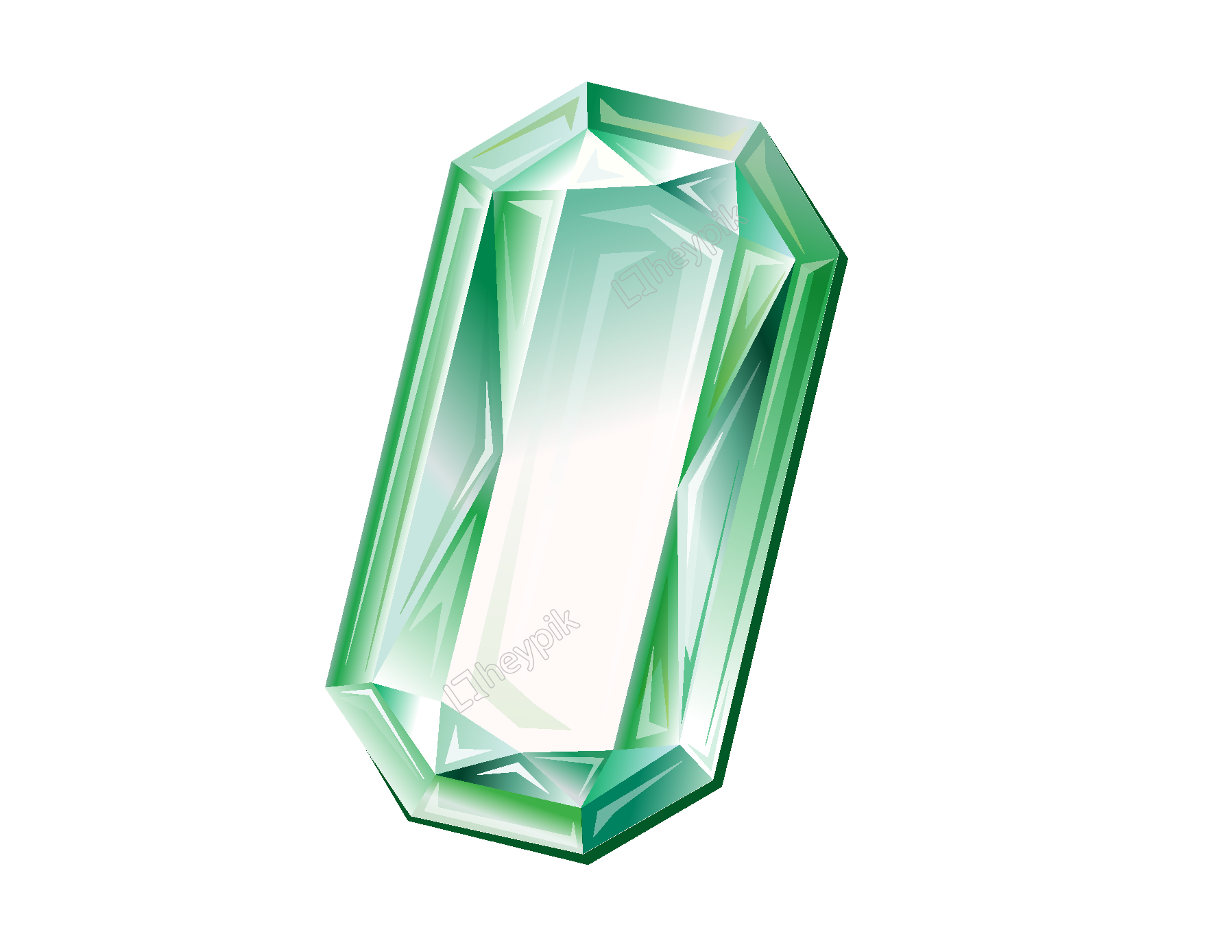 Emerald vector cartoon. Green geometric diamond element