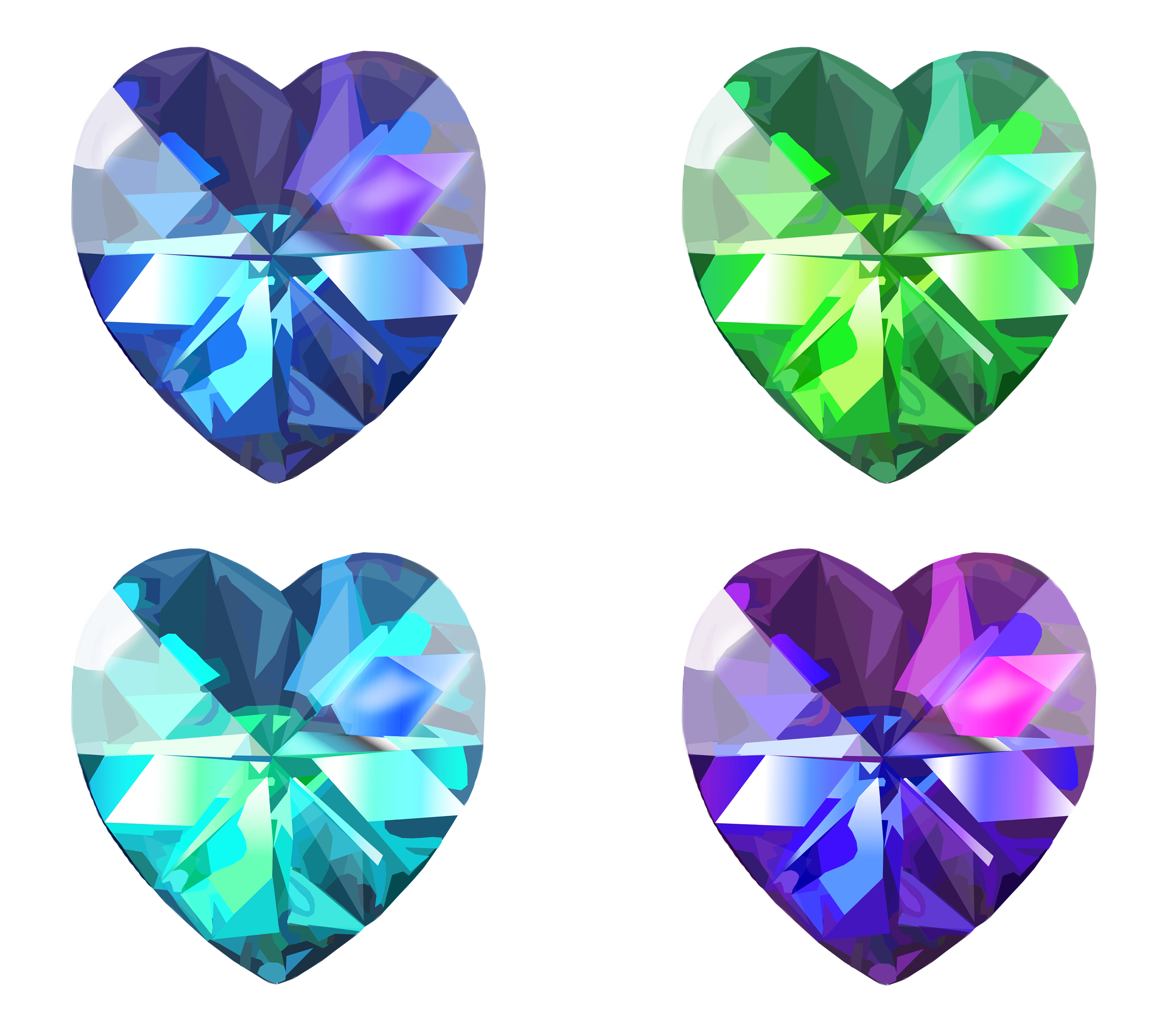 Gemstone vector crystal. Realistic heart set done