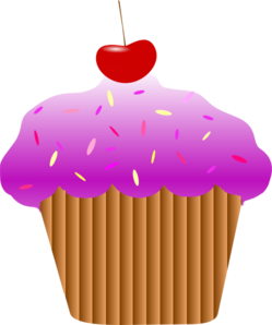 Vector cupcakes cherry top. Purple cupcake clip art