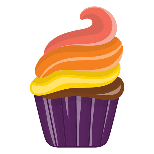 Muffin svg cartoon. Delicious decorated cupcake transparent