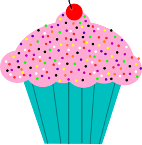 Vector cupcakes clipart. Pink frosted cupcake clip